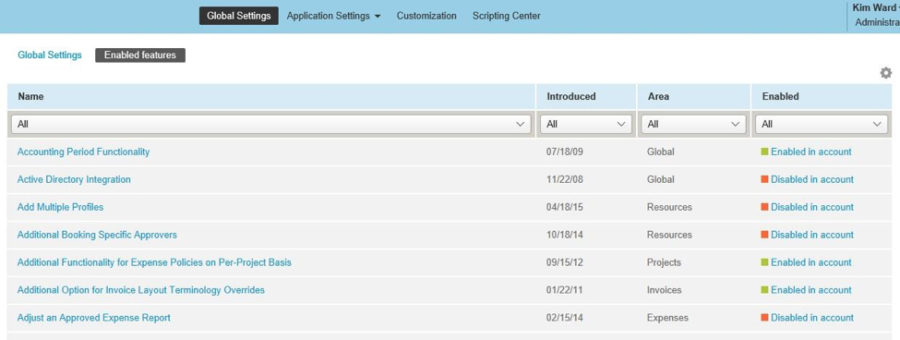 Enabled Features View