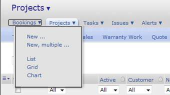 Bookings Tab in Projects Module