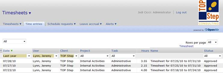 a quicker way to look up time entries on openair timesheets top